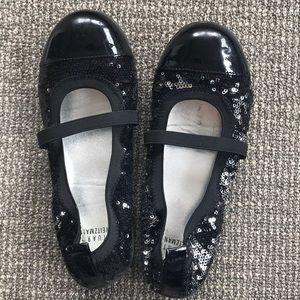 Stuart Weizmann black silver sequin shoes